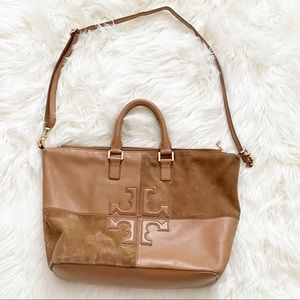 Tory Burch Natalie Suede & Leather Satchel Bag